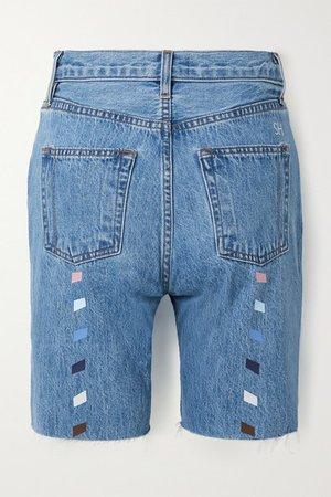Tate Printed Frayed Denim Shorts - Mid denim