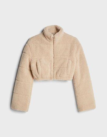 Cropped faux shearling jacket - Outerwear - Woman | Bershka cream
