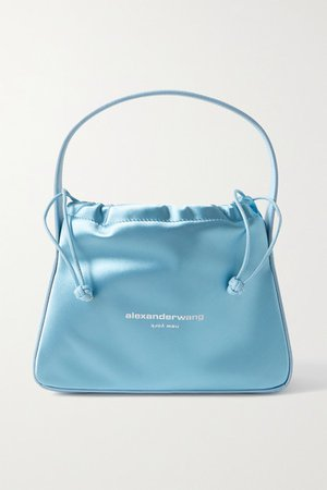 Ryan Leather-trimmed Printed Satin Tote - Sky blue