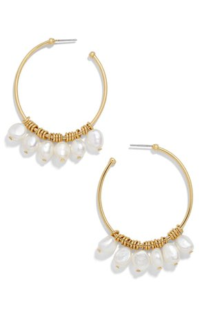 BaubleBar Marquita Keshi Pearl Hoop Earrings | Nordstrom