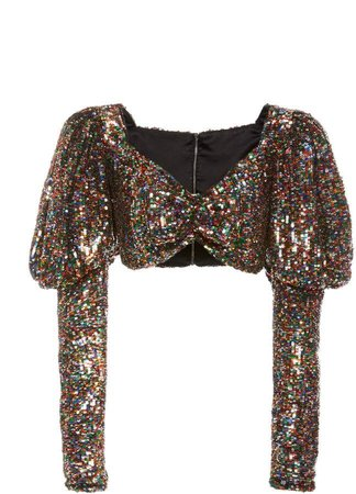 Robarte Cropped Ruched Sequined Top