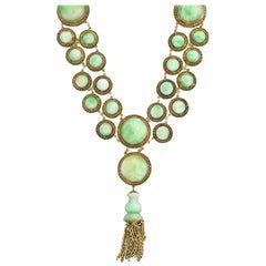 Art Deco Jade and Diamond Necklace For Sale at 1stdibs