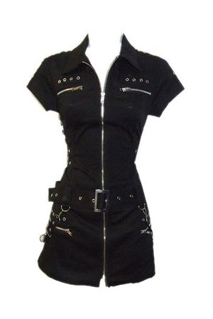 Zipped Black Biker Shirt Dress by Hearts & Roses   Ladies
