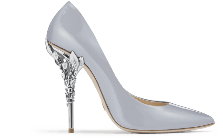 Ralph & Russo EDEN HEEL PUMP SKY BLUE PATENT WITH SILVER LEAVES