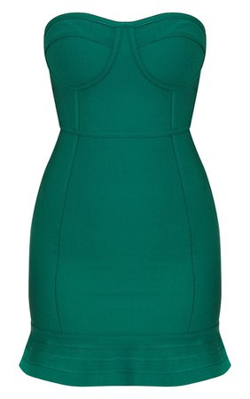 Emerald Green Bandage Frill Hem Bodycon Dress | PrettyLittleThing