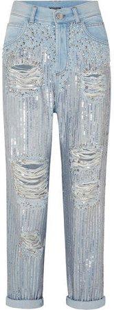 Embellished Distressed Boyfriend Jeans - Blue