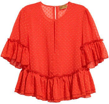 Blouse with Flounces - Red