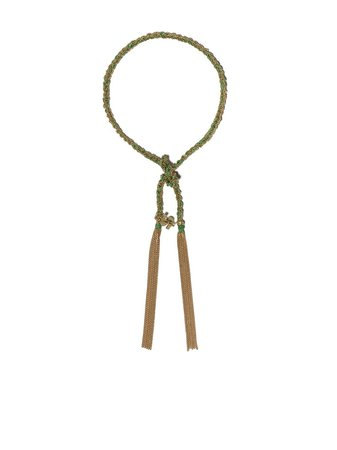 Carolina Bucci 18kt Yellow Gold And Green Silk Lucky Money Charm Bracelet - Farfetch