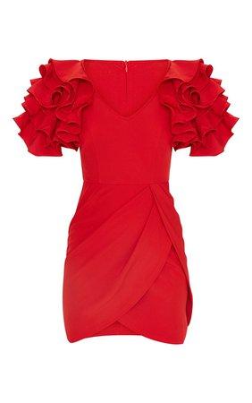 Red Frill Sleeve V Neck Bodycon Dress   PrettyLittleThing USA