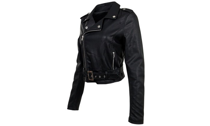 13988-PUD Womens Juniors Fashionable Cropped Faux Leather Moto Biker Jacket | Groupon
