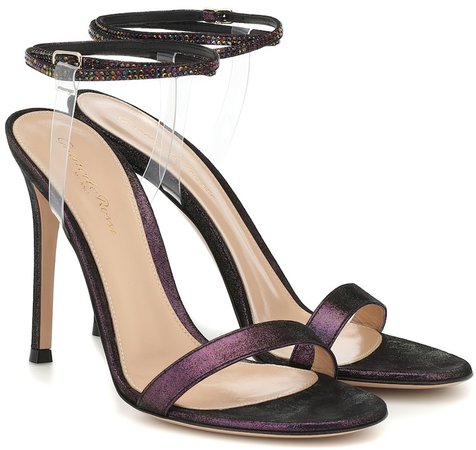PVC and leather-trimmed sandals