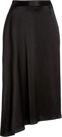 Deveaux Merel Asymmetric Draped Satin Skirt