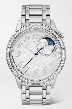 Vacheron Constantin | Egérie Automatic Moon-Phase 37mm stainless steel and diamond watch | NET-A-PORTER.COM