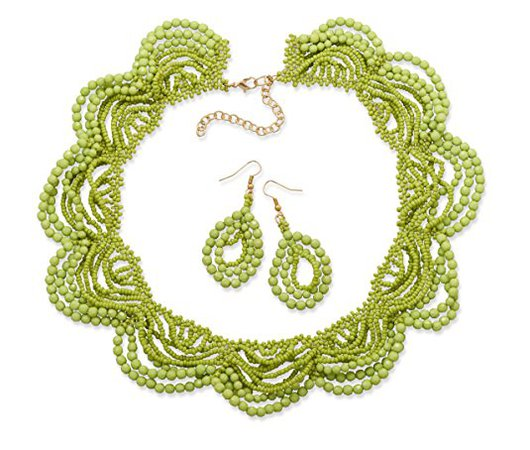 Amazon.com: Lime Green Lace Necklace and Earrings Set: Jewelry