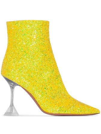 Amina Muaddi Georgia 95Mm Glitter Boots Aw20   Farfetch.Com