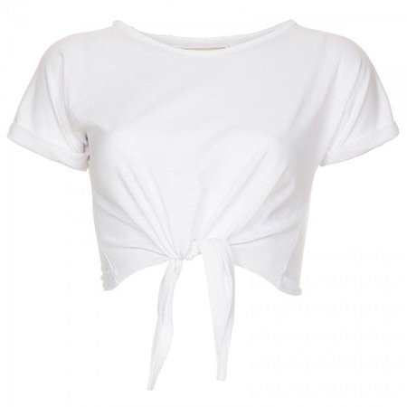White Tied Cropped T-Shirt