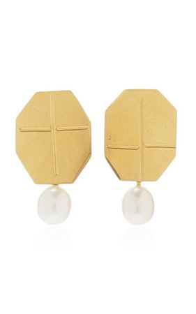 Gold-Plated And Pearl Earrings by Annie Costello Brown | Moda Operandi