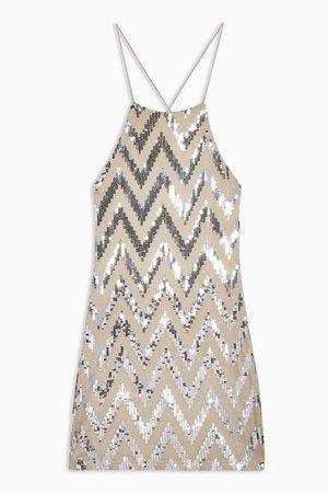Zig Zag Sequin Halter Neck Mini Dress   Topshop stone