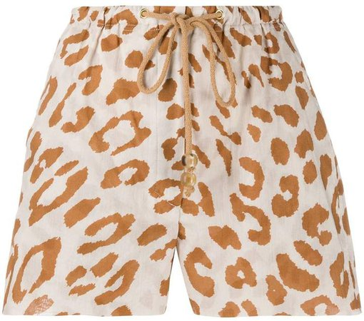 Elasticated Leopard-Print Shorts