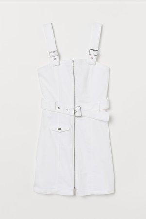 Twill Bib Overall Dress - White - | H&M US