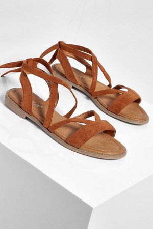 Wrap Strap Flat Sandal | boohoo tan