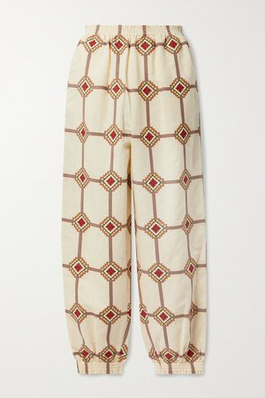 Embroidered Linen And Cotton-blend Tapered Pants - Cream