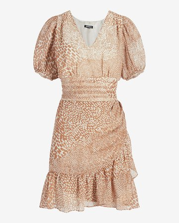 Animal Print Puff Sleeve Ruffle Wrap Dress   Express