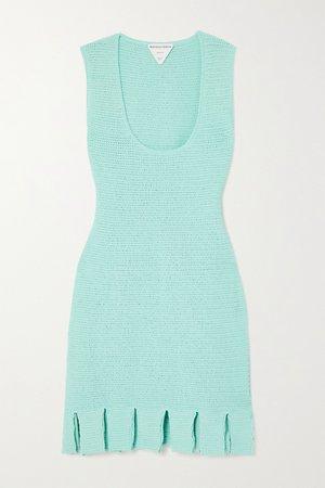 Blue Open-knit cotton-blend mini dress   Bottega Veneta   NET-A-PORTER