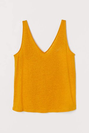 Linen Tank Top - Yellow