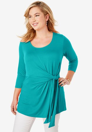 Knot Front Tunic| Plus Size 30 Inches Long | Full Beauty