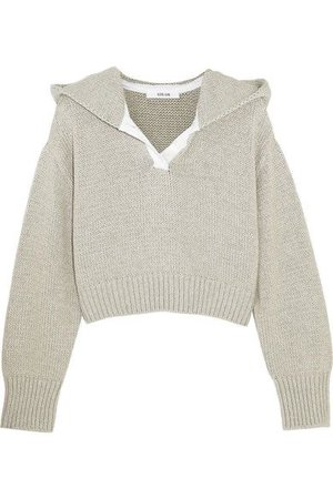 6 ADEAM Cropped cotton and cashmere-blend hooded sweater
