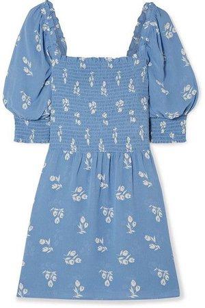 Reformation - Elle Shirred Floral-print Georgette Mini Dress - Blue