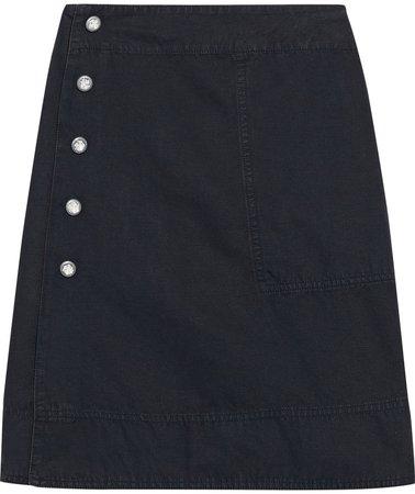 Ida Snap-detailed Cotton And Linen-blend Mini Wrap Skirt