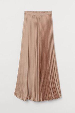 Pleated Satin Skirt - Beige - Ladies | H&M US