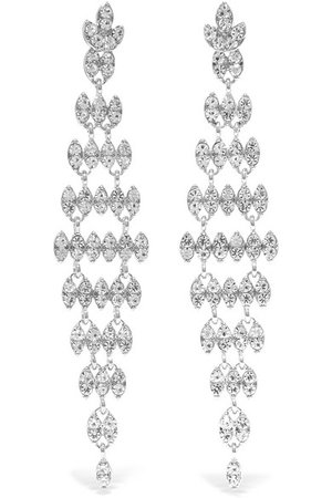 Kenneth Jay Lane | Silver and rhodium-plated crystal earrings | NET-A-PORTER.COM