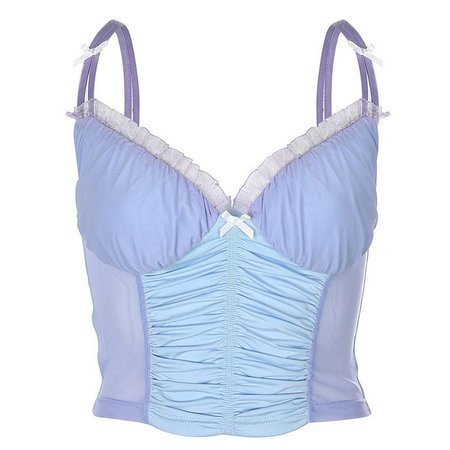 JULES Pastel Ruched Lace Bustier Corset Top/ Y2k Baby Blue | Etsy