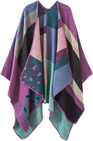 Urban CoCo Women's Color Block Shawl Wrap Open Front Poncho Cape (Series 1-red) at Amazon Women's Clothing store
