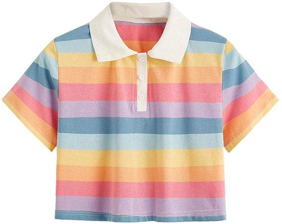 SweatyRocks Women's Collar Half Button Short Sleeve Rainbow Striped Crop Top T-Shirt Multi Small at Amazon Women's Clothing store
