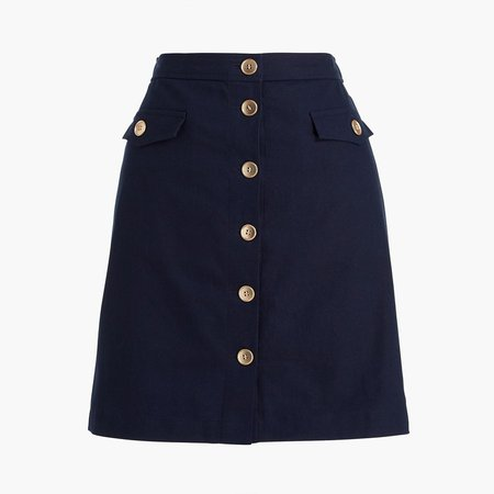 Linen-blend button-through A-line skirt