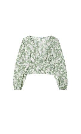 Printed V-neck blouse - Women's Just in | Stradivarius United States