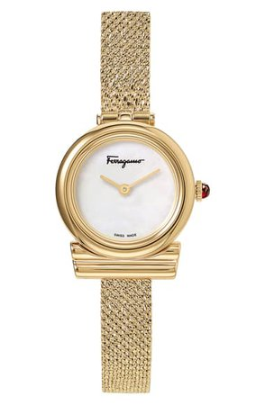 Salvatore Ferragamo Gancino Slim Mesh Strap Watch, 22mm | Nordstrom