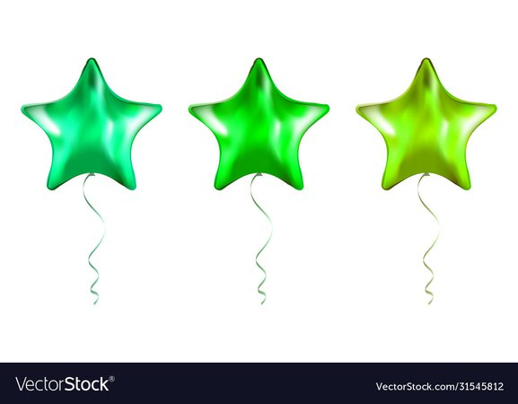Set green star shaped foil balloons on Royalty Free Vector