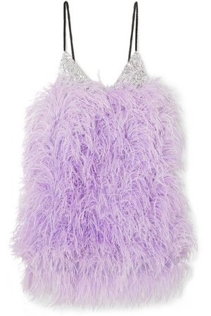 The Attico Feather-embellished sequined tulle mini dress