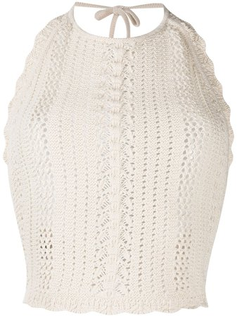 Pinko halter-neck Crochet Top - Farfetch