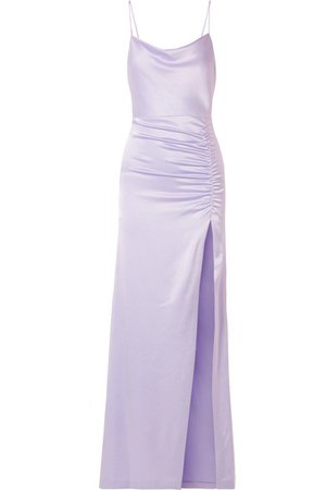ALICE + OLIVIA Diana ruched satin maxi dress