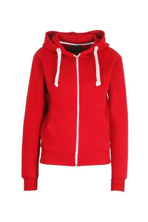 Solid Colour Zip Through Hoodie | boohoo red