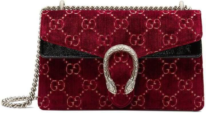 red Dionysus GG velvet small shoulder bag