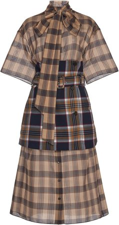 Corset-Accented Cotton-Poplin Shirt Dress