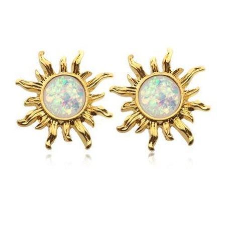 White Golden Opal Sun Ear Stud Earrings - 1 Pair - ** Rebel Bod **