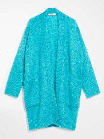 "Mohair and wool cardigan, turquoise - ""SAMPANG"" Max Mara"
